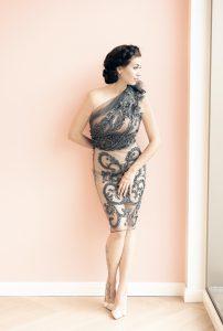 Kleid Drapé mit Tüllstickerei Sara Leupold Couture